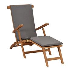 vidaXL Solid Teak Wood Deck Chair with Cushion Dark Gray Outdoor Garden Seat