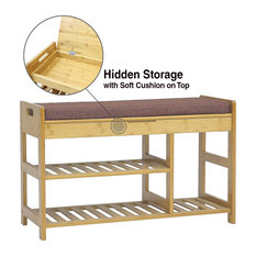 Clevr Natural Bamboo Shoe Storage Rack Bench With 2-Tier Storage Drawer