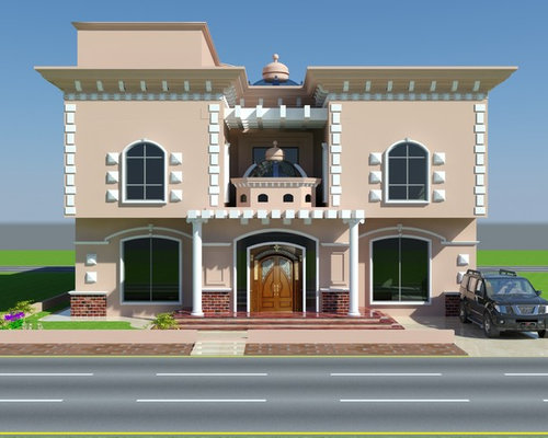 Luxury House Front Elevation : Beautiful luxury saudi arabian villa d front elevation
