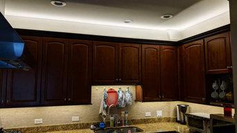 Kitchen under cabinets lighting and recess lighting installation