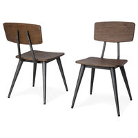 Torao wooden dining chairs with antiqued gold metal accents, Set of 2