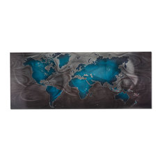 Blue/Pewter Land & Sea, World Map Wall Art, Giclee on Metal