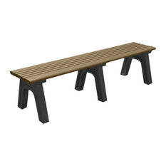 Bench, Hartford Backless, 6', with Black Legs, Weathered Wood color