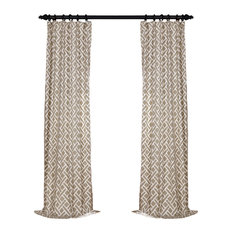 """Martinique Taupe Printed Cotton Curtain Single Panel, 50""""x96"""""""