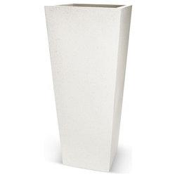 "Contemporary Outdoor Pots And Planters Betona Classik Tapered Fiberstone Pot, White, 39"""