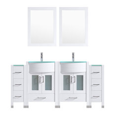 """72"""" White Vanity, 24"""" Double Sink Bases, Double 12 Drawer Bases, LV3-C16-72-W"""