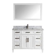 Vanity Art Vanity Set With Carrara Marble Top, White, Standard Mirror, 48""