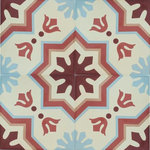 Rustico Tile and Stone - Aztec Cement Mexican Tile, Set of 13, 8x8 - This decorative tile pattern from the MeaLu Collection is an encaustic-style cement tile. The colorful pattern is not painted, rather, it is mineral-pigmented cement. Recommended overage for waste, cuts, and borders is 15-20%.  It's a good idea to also allow for one extra box of tile for storage should you ever need to replace a tile.  Cement tile is extremely durable and good for most indoor and outdoor locations when it is properly installed - both residential and commercial. MeaLu Collection cement tiles from Rustico Tile and Stone are unsealed. It's recommended for cement tile to be sealed, coated, waxed or polished for finished protection. Request installation advice before purchasing.  Cement Tile is not difficult to install but it is easy to make errors if the proper installation materials and sealers are not used.  Additionally, the proper process must be followed. Please inquire about any installation questions before installing your tile.  Cement tile is easy to clean, and non-abrasive cleaners are recommended. Avoid harsh chemicals. Concrete Tile is a rustic-handmade tile. It is eco-friendly. Typical characteristics to be expected include slight variation in size and thickness, color variation, small chips, and some color-bleed in the design.