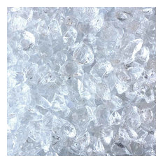"""Crushed Fire Glass - Crystal Clear 1/2"""" to 3/4"""", 10 lb. Jar"""