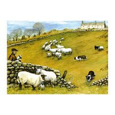Tuftop Large Textured Worktop Saver, Sheepdog and Sheep, 50x40 cm