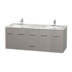 "Centra 60"" Gray Oak Double Vanity, White Carrera Marble Top, Drop-In Square Sink"