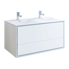 """Fresca Catania 48"""" Gloss White Wall Hung Cabinet With Integrated Double Sink"""
