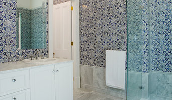 Hand painted tiles and Carrara marble