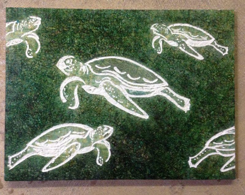 "Travertine Marble  Tile: ""Sea Turtles"" Spa Bath Focal Point: : ""Carribean Sea"" c"
