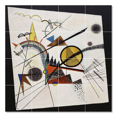 "Wassily Kandinsky Abstract Painting Ceramic Tile Mural #51, 48""x48"""