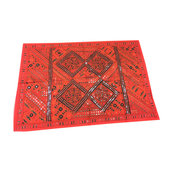 Mogulinterior - Indian Red Sari Tapestry with Miror Patchwork Wall Hanging Throw - Tapestries