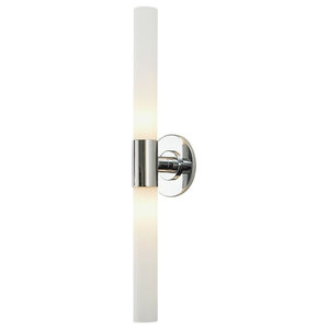 Long Cylinder 2 Light Vanity, Chrome And White Opal Glass