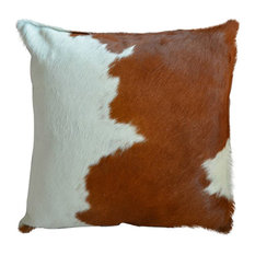 Pergamino Brown and White Cowhide Pillows, Single Sided