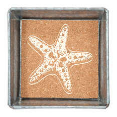 Starfish Napkin or Trinket Tray Square Galvanized Metal and Printed Cork 5 Inch