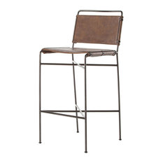 44-inch Flaviano Bar Counter Stool Faux Leather Iron Distressed Brown Waxed Black
