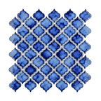"SomerTile Hudson Tangier 12-3/8"" x 12-1/2"" Porcelain Mosaic Tile, Saphhire"