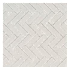 White Glossy Herringbone Pattern Mosaic, Sample