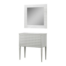 Diamond Bathroom Vanity and Wall Mirror, White Gloss, 40""
