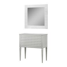 "Diamond Bathroom Vanity and Wall Mirror, White Gloss, 40"""