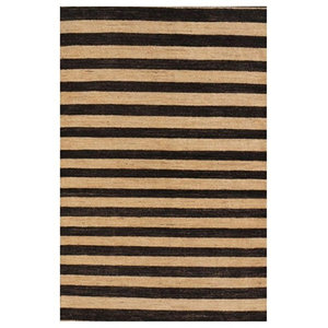Gabbeh Black and White Striped Floor Rug, 122x183 cm