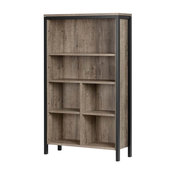 6-Shelf Bookcase With Cubes, Weathered Oak and Matte Black
