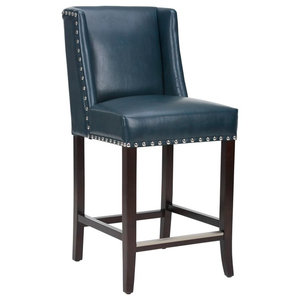 Sunpan Club Collection Marlin Counter Stool, Blue Leather