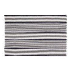 Handwoven Santorini Cotton Rug, Navy and Beige, 120x180 cm
