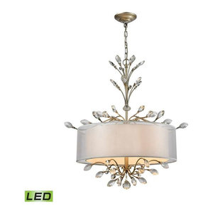 Asbury 4-Light Chandelier Aged Silver, LED Candelabra Included: Yes
