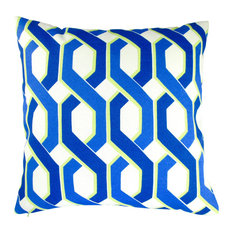 "Outdoor Geometric Throw Pillows, Set of 2, Blue and Green, 18"", Cover"