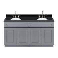 Cherry Double Bathroom Vanity 60-inch Absolute Black Granite Top Faucet LB7B