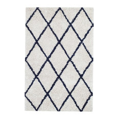 Franklin Silky Shag Area Rug With Diamond Pattern, Ivory and Navy, 9'x12'