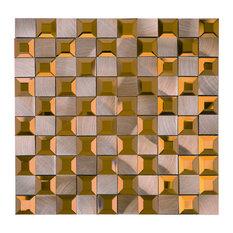 """11.88""""x11.88"""" Brynn Mixed Mosaic Tile Sheet, Brown"""