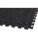 """FlooringInc - 24""""x24"""" Soft Rubber Gym Flooring Foam Tiles, Set of 10, Black/Gray, 3/8"""" Thick - Our interlocking soft rubber tiles are an ideal solution for people looking for a non slip rubber matting surface that also has the exceptional cushioning properties of interlocking foam floor mats. These floor tiles are new to the market and are constructed using an innovative production process that bonds a recycled rubber top surface layer to a high density closed cell foam base layer. Due to this unique construction method, these tiles are more durable and slip resistant than standard foam tiles, and like foam tiles, are sound proof, water proof, shock absorbent, and insulating in addition to being light in weight as compared to standard all rubber tiles. These tiles also use are patented interlocking tile design where each foam rubber tile has two removable edge pieces which allows each tile to be either a center, corner, or border tile."""