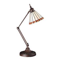 Meyda Tiffany 65946 Tiffany 1 Light Swing Arm Desk Lamp - Tiffany Glass