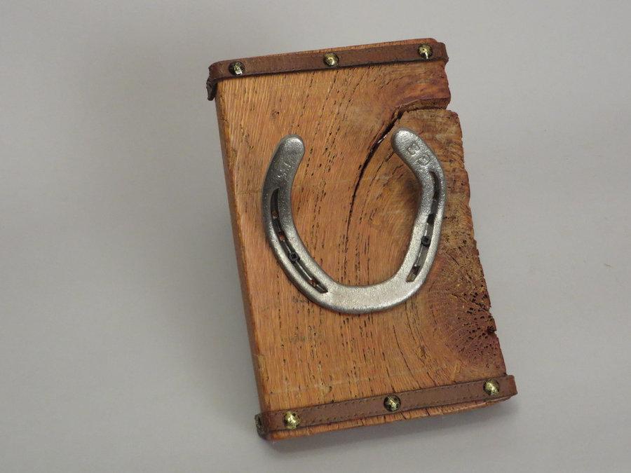 #R15023 Coat Rack Reclaimed Oak, horseshoes, leather.