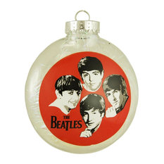 """The Beatles Tinsel Filled Shatterproof Christmas Disk Ornament 4"""" 100mm"""