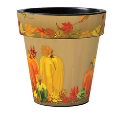 "Pumpkins and Gourds 15"" Art Planter"