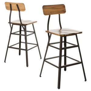 Barstool in Natural Stained Finish - Set of 2