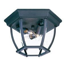 3-Light Matte Black Outdoor Flush Mount