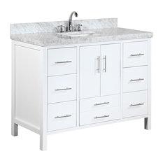 "California Bath Vanity, Base: White, 48"", Top: Carrara Marble"