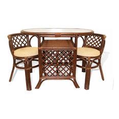 SK New Interiors   Borneo 3 Piece Dining Set, Dark Brown   Dining Sets