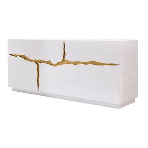 Modrest Aspen Modern White and Gold Buffet