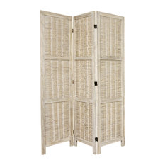 5 1/2' Tall Bamboo Matchstick Woven Room Divider, Burnt White, 3 Panel