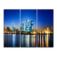 """Canary Wharf London"" Photo Canvas Print, 3 Panels, 36""x28"""