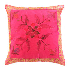 Hand Painted Floral Pillow Cover, Set of 2, Fuchsia